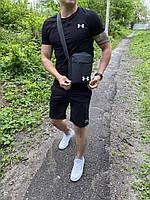 Футболка + шорты Under Armour zipp x all black мужские   спортивный костюм летний, фото 1