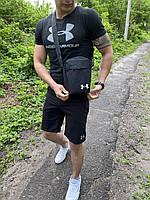 Футболка + шорты Under Armour x black мужские / спортивный костюм мужской летний, фото 1