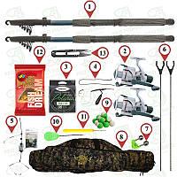 Набор для ловли карася и карпа.Хорошие удочки 2шт. по 2,7м полностью собраны.Подарок- чехол и подставки(№94)