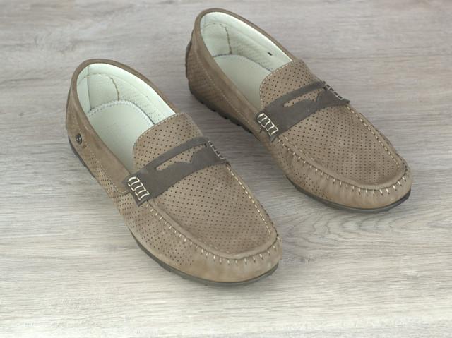 Мокасины бежевые нубук перфорированные мужская обувь летняя Rosso Avangard ETHEREAL Classic Beige