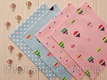 Набор сатина для рукоделия Воздушные шары, горошек и звездочки на голубом и розовом фоне - 4 отреза 40*50 см