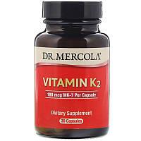 Dr. Mercola, ВитаминK2, 180мкг, 30капсул