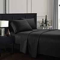 Комплект постельного белья евро черное Stripe CottonTwill (страйп сатин Турция)