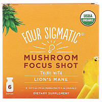 Four Sigmatic, Mushroom Focus Shot, Pineapple, 6 Bottles, 2.5 fl oz (74 ml) Each