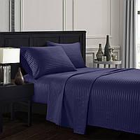 Комплект постельного белья семейный темно синее Stripe CottonTwill (страйп сатин Турция)