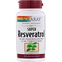Solaray, Супер ресвератрол, 30вегетарианских капсул
