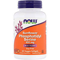 Now Foods, Подсолнечный фосфатидилсерин, 100мг, 60растительных мягких таблеток