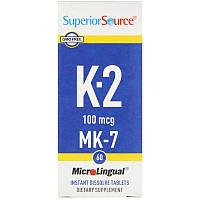 Superior Source, ВитаминK2, 100мкг, 60быстрорастворимых таблеток MicroLingual