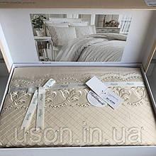 Комплект постельного белья сатин c вышивкой TM Royal Nazik Aura bej