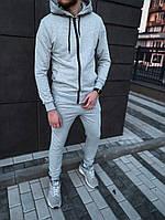 Трикотажный спортивный костюм мужской весна серый, фото 1