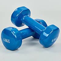 Гантели для фитнеса с виниловым покрытием Zelart Радуга TA-0001-4-B (2x4кг) (2шт, синий)