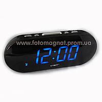 Часы сетевые VST 717-5 синие настольные(электронные цифровые часы)