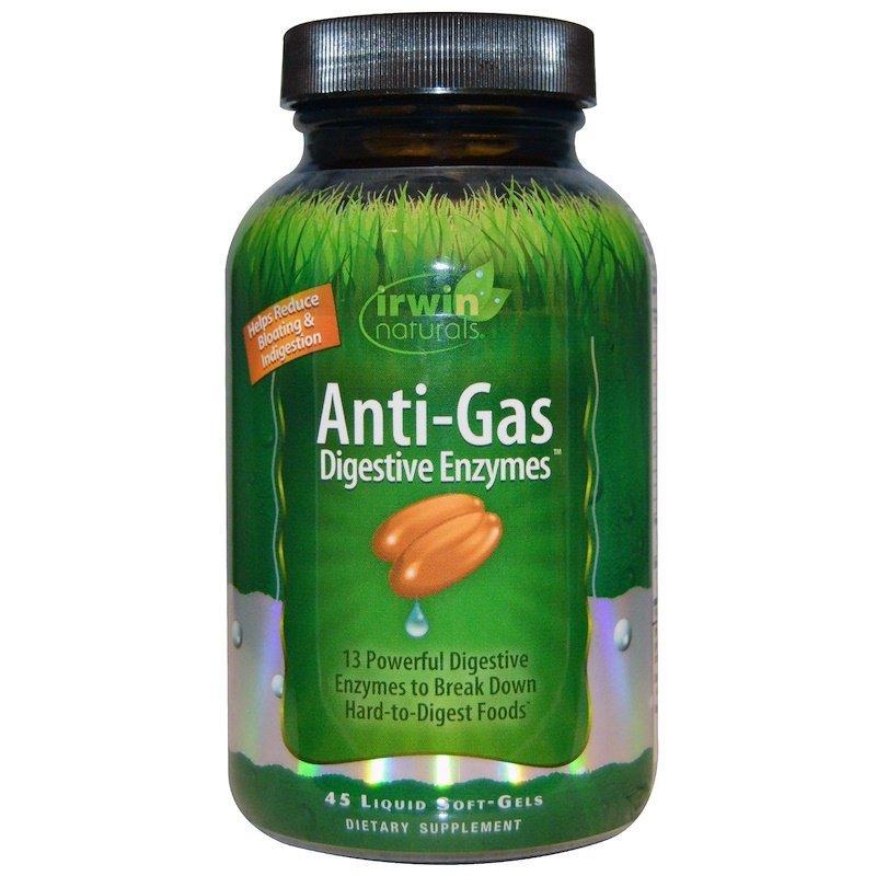 Irwin Naturals, Anti-Gas травні ферменти, 45 м'яких желатинових капсул