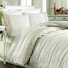Комплект постельного белья сатин c вышивкой TM Royal Nazik Aura krem