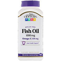 21st Century, Fish Oil, Reflux Free, 1,000 mg, 90 Enteric Coated Softgels