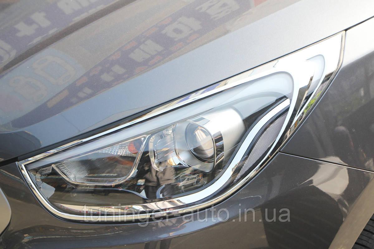 Хром накладки на фари Hyundai IX-35 2009+