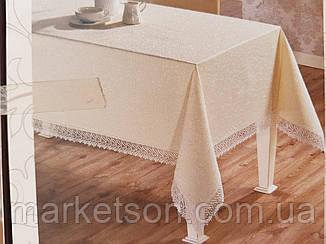 Скатерть белая прямоугольная 150х220. С кружевом., фото 2