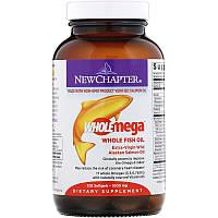 New Chapter, Wholemega, цельный рыбий жир из дикого аляскинского лосося первого отжима, 1000 мг, 120 мягких таблеток