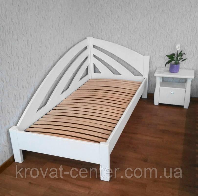 """Белая односпальная кровать из дерева """"Радуга"""" с прикроватной тумбочкой"""