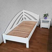 """Белая односпальная кровать из массива дерева """"Радуга"""" (90х200) + тумбочка"""