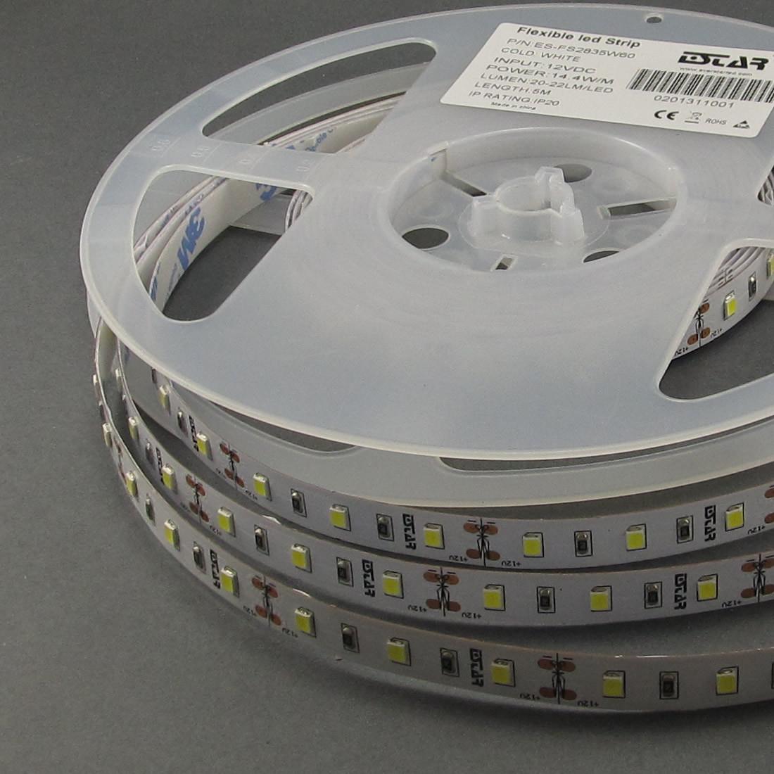 Светодиодная лента ESTAR 2835/60  14,4Вт 12В 3800-4300К Нейтральный белый 1320 Лм IP20 премиум