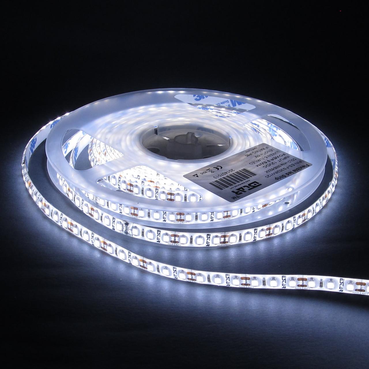 Светодиодная лента ESTAR 3528/120 9,6Вт 12В 9000-10000К Холодный белый  IP65 премиум