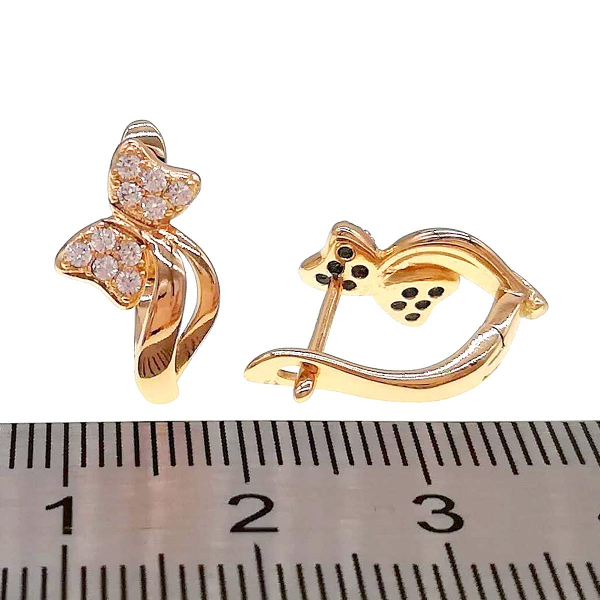 Серьги Xuping из медицинского золота, белые фианиты, позолота 18K, 24536                         (1)