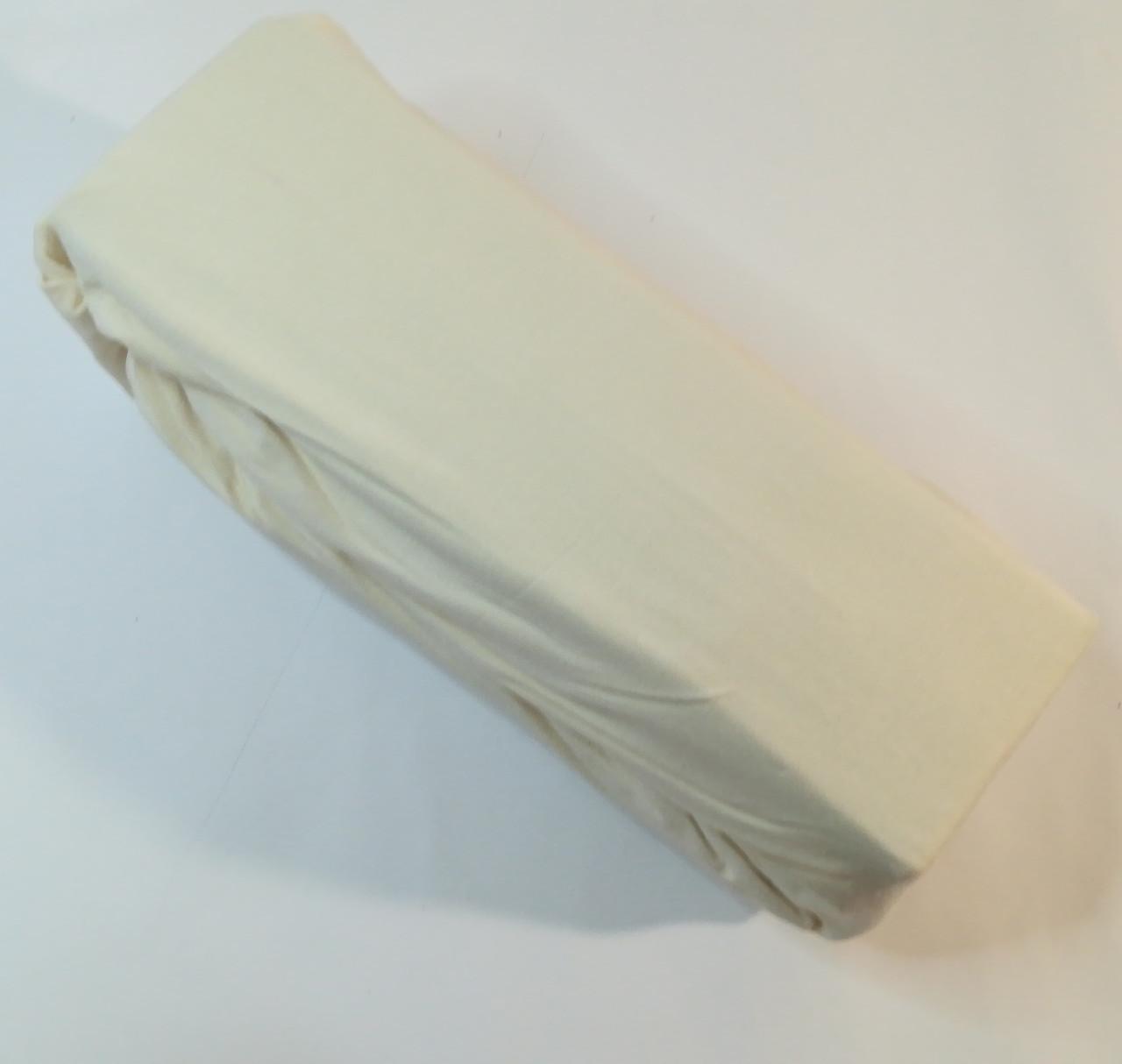 Трикотажная простынь на резинке 100х200 крем, Турция