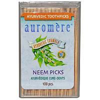 Auromere, Аюрведические зубочистки, зубочистики с нимом, 100 штук