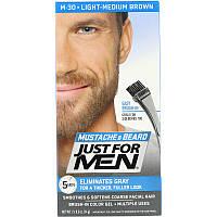 Just for Men, Mustache & Beard, гель для окрашивания усов и бороды с кисточкой в комплекте, оттенок светло-коричневый M-30, 2шт. по 14г