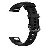 Силиконовый ремешок Primo для фитнес-браслета Huawei Honor Band 4 / 5 - Black, фото 3