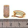 Серьги Xuping из медицинского золота, белые фианиты, позолота 18K, 24541                                      , фото 2