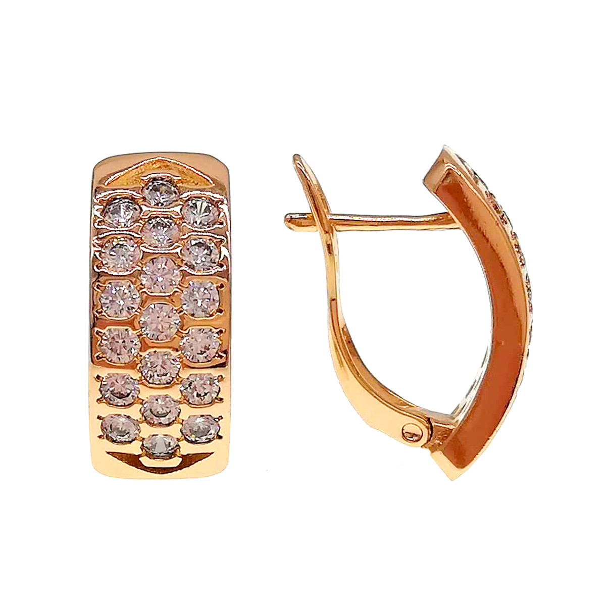 Серьги Xuping из медицинского золота, белые фианиты, позолота 18K, 24541
