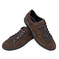 Кеды коричневые натуральный нубук на шнуровке (7nk)