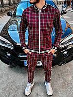 Мужской костюм в клетку спортивный лето бордо