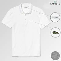Футболка поло мужская Polo Lacoste white / Премиум качества