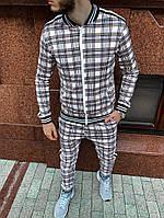 Мужской костюм в клетку спортивный лето серый