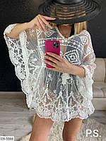 Женская Пляжная Туника с вышивкой Белая, Черная, фото 1