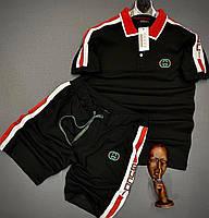 Мужской летний комплект Gucci CK416 черный