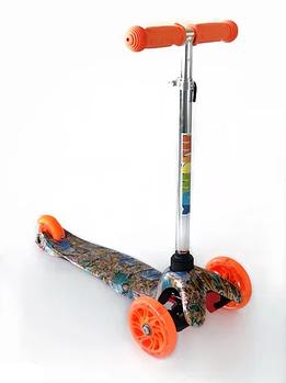 Самокат детский Scooter 038B с подсветкой колес | Оранжевый с принтом