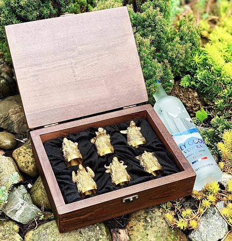 Беспроигрышный подарок мужчине - набор охотничьих чарок в кейсе из бука, 6шт., фото 2