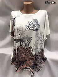 Летняя женская футболка Размер универсал 52-58