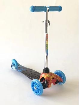 Самокат дитячий Scooter 038B з підсвічуванням коліс | Синій з принтом