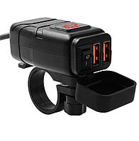 USB мото зарядка на кермо з вольтметром, 2 х USB, 12-24 V WUPP, + кріплення під болт кріплення на кермо