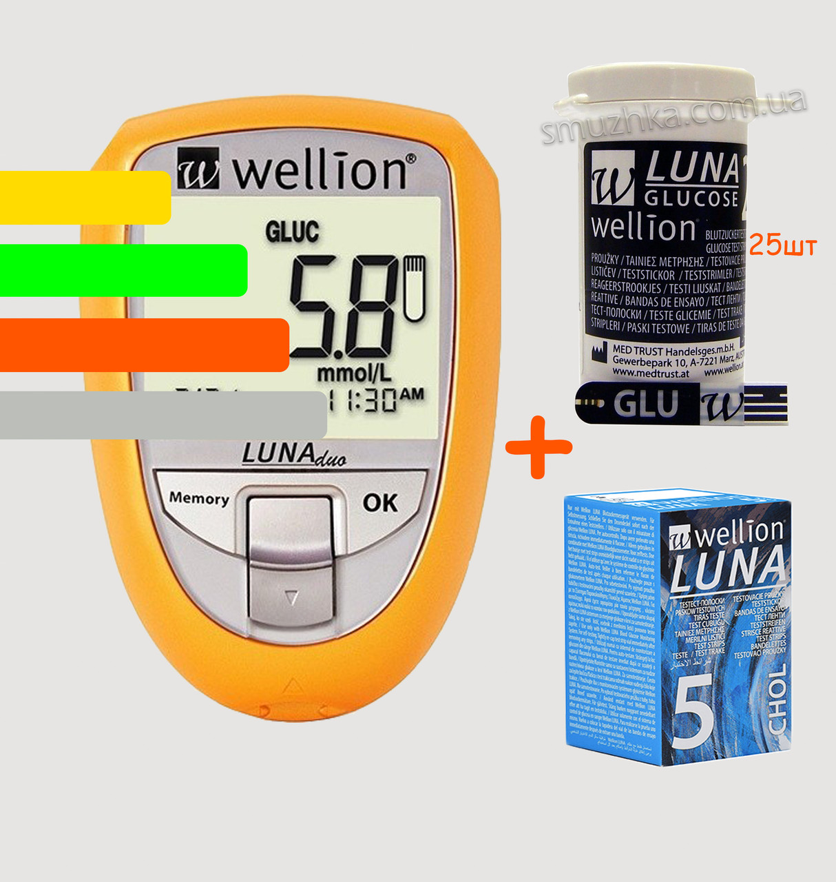 Глюкометр Луна Веллион Дуо - Wellion Luna Duo, +25 полосок глюкозы и 5 холестерин