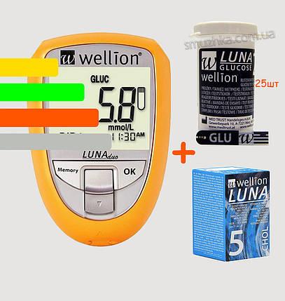 Глюкометр Луна Веллион Дуо - Wellion Luna Duo, +25 полосок глюкозы и 5 холестерин, фото 2