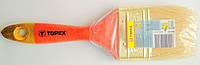 Кисть плоская 2.5 TOPEX универсальная деревянная нелакированная ручка стальная оправка натуральная щетина