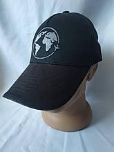 Стильная черная мужская кепка-бейсболка с рисунком Земного Шара