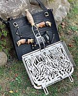 """Необычная сетка-гриль """"Кабан"""" 340х260х50 с аксессуарами, в кожаном чехле ‒ оригинальный подарок мужчине"""