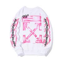 ✔️ Модный белый свитшот бренда с принтом мужской женский на подарок